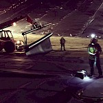 Heap Leach liner installation at night