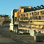 Convoy of conveyors being trucked into the Moss Mine