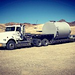 Moss Mine Construction - Cyanide Tank arrives on site.