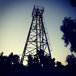 Historical Moss Mine Headframe at dusk